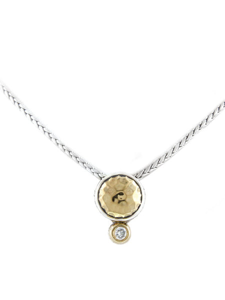 Oval Link Collection Hammered Single CZ Necklace