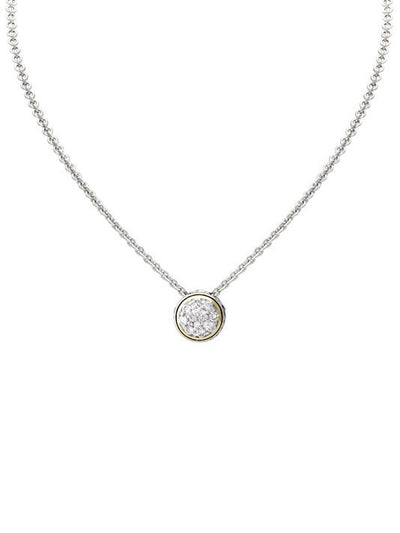 Oval Link Collection Lanna Solitaire Pavé Necklace - John Medeiros Jewelry Collections