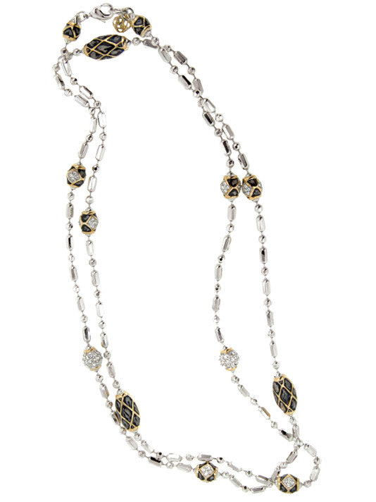 Lattice Collection - Black Abalone Edition - Long Pavé Necklace