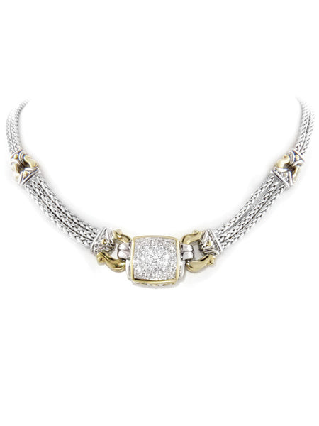 John Medeiros Anvil Square Pavé Triple Strand Necklace