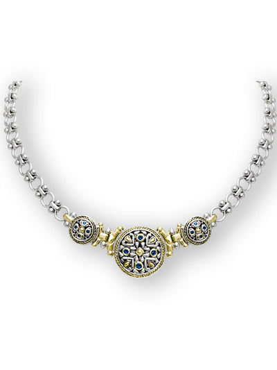 O-Link Collection Large Filigree Indigo CZ Necklace