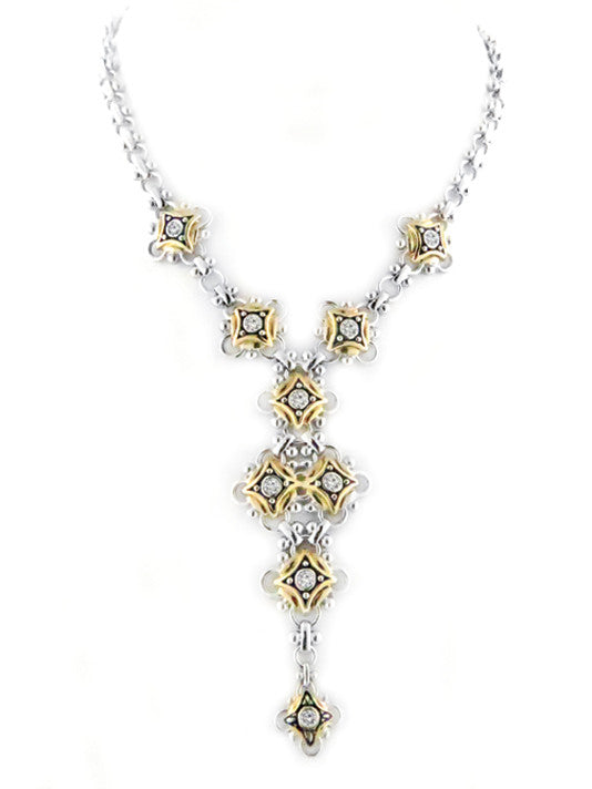 O-Link Collection Five Station Drop Necklace with CZ