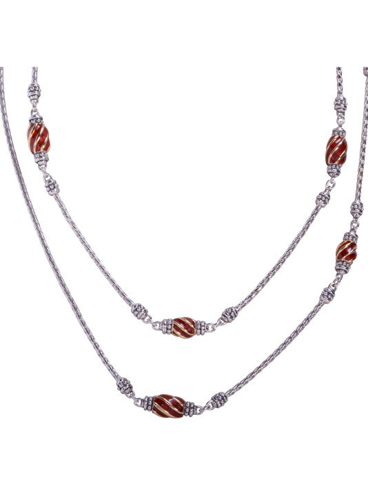 Lattice Collection - Carnelian 6 Station Necklace