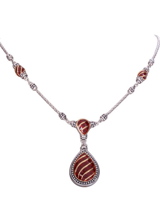 Lattice Collection - Carnelian 2 Station Teardrop Necklace