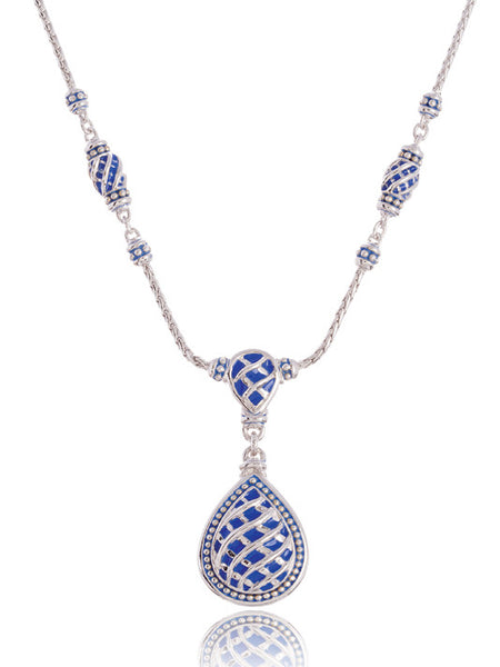 Lattice Collection - Lapis Edition - Teardrop Two Station Necklace