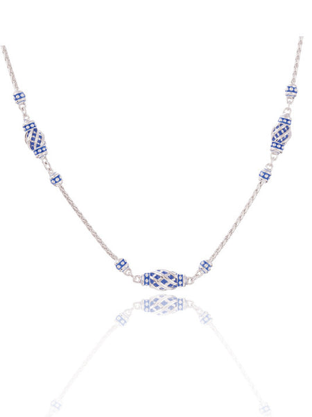 Lattice Collection - Lapis Edition - Three Station Necklace with Extender