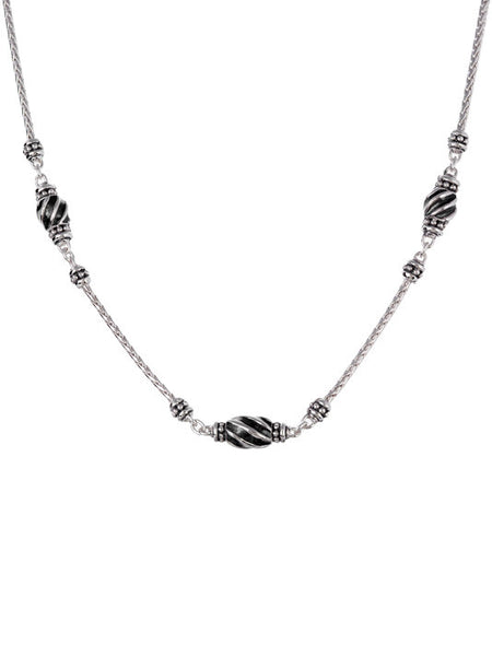 Ocean Images - Black Seas 3 Station Necklace