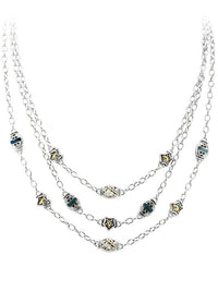 Timeless Triple Strand Necklace in Midnight.