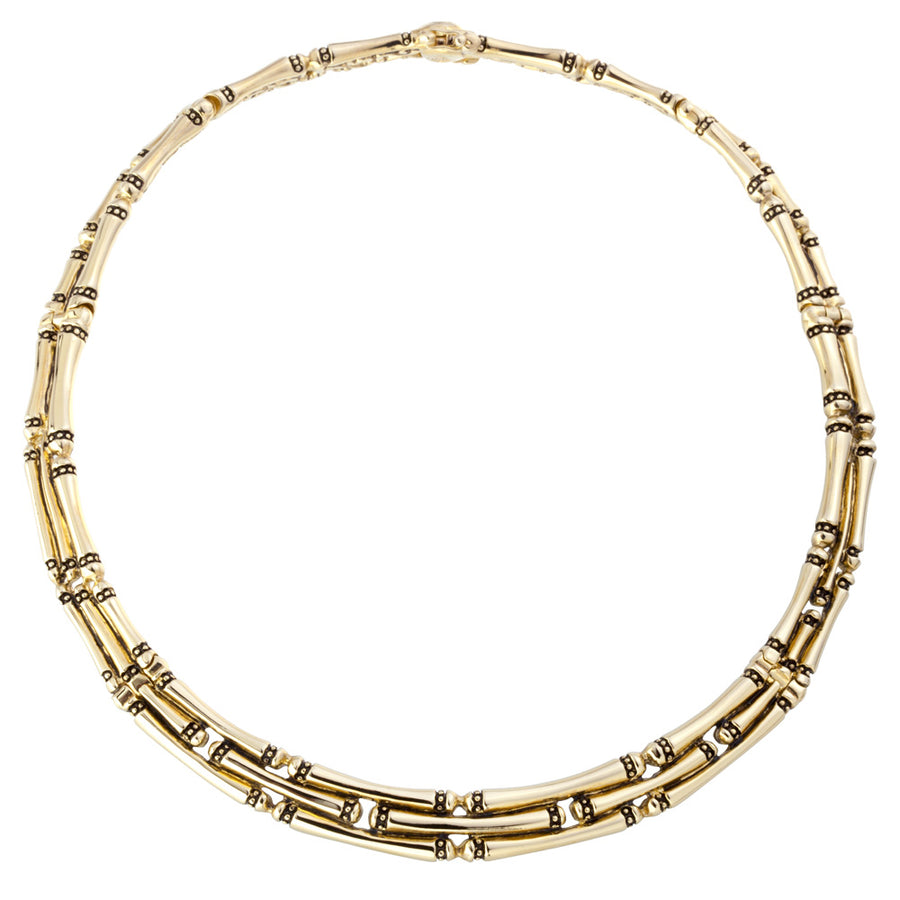 Canias Gold Three Row Necklace