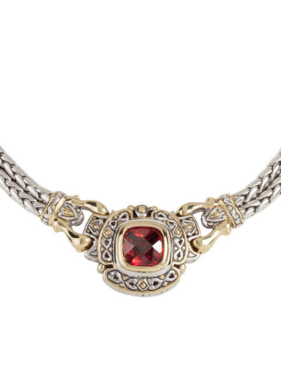 Pedras Collection Garnet CZ Double Strand Necklace