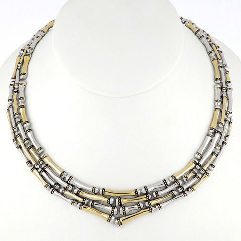 Canias Collection Four Row Necklace on neck form