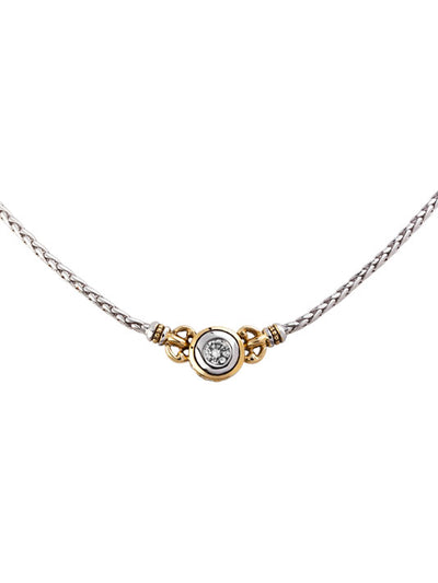 Beijos Collection 6mm CZ Single Stone Necklace