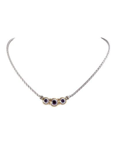Beijos Three Stone Amethyst CZ Necklace
