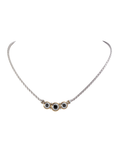 Beijos Three Stone Black CZ Necklace