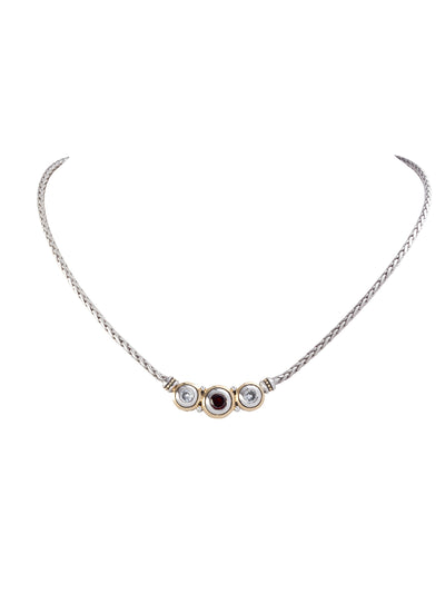 Beijos Three Stone Clear and Garnet CZ Necklace