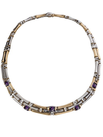 Cor Collection Three Row Necklace with amethyst color stones