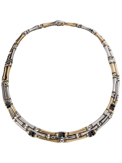 Cor Collection Three Row Necklace with black color stones