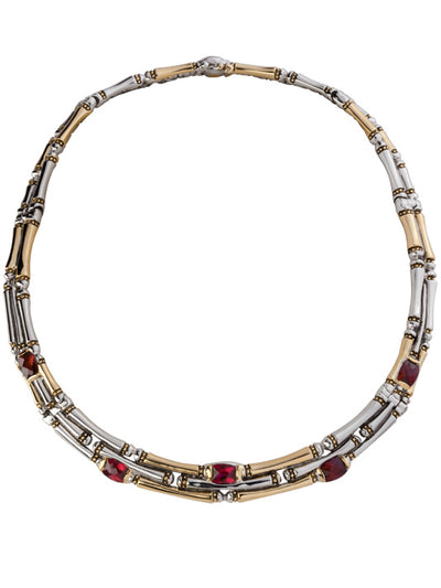 Cor Collection Three Row Necklace with garnet color stones