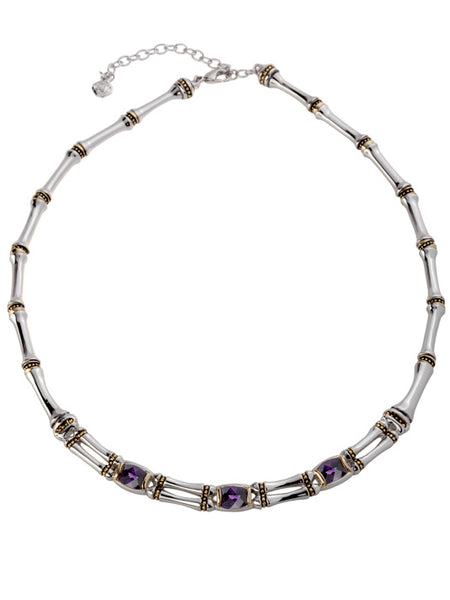Cor Collection Two Row Necklace with garnet color stones