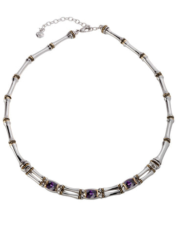 Cor Collection Two Row Necklace with amethyst color stones