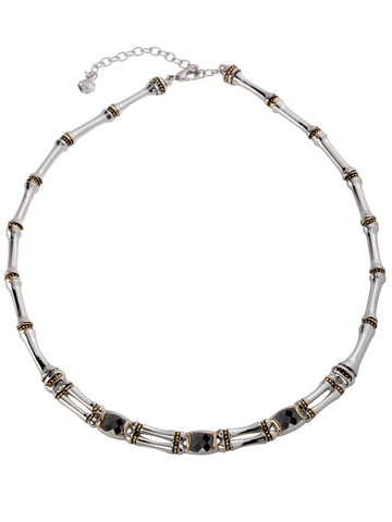 Cor Collection Two Row Necklace with black color stones