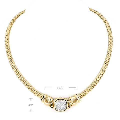 Anvil Gold & Pavé Double Strand Horseshoe Necklace dimensions