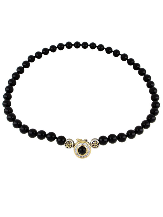 Genuine Black Onyx & Pavé Beaded Strand Necklace