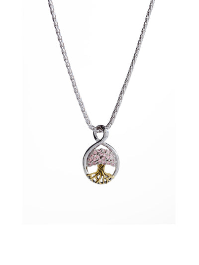 Tree of Life Pendant with Pink CZ and Chain
