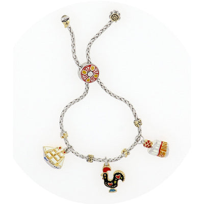 Portuguese Collection Adjustable Bolo Bracelet with Charms - SET3