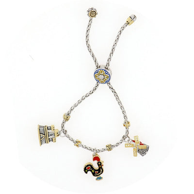 Portuguese Collection Adjustable Bolo Bracelet with Charms - SET4
