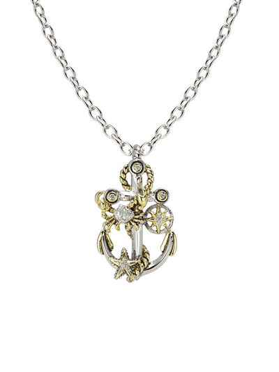 "Seaside Treasure Anchor Slider with Chain. Available with 16"" or 32"" Chains."
