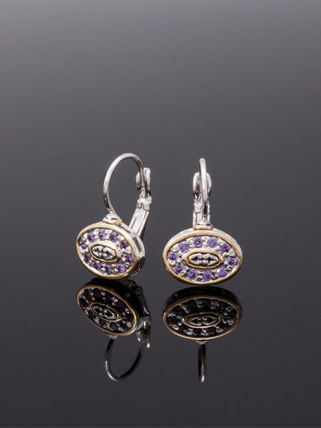O-Link Collection French Wire Filigree Oval Amethyst CZ Earrings