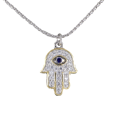 Hamsa Hand Indigo Eye Pendant Necklace