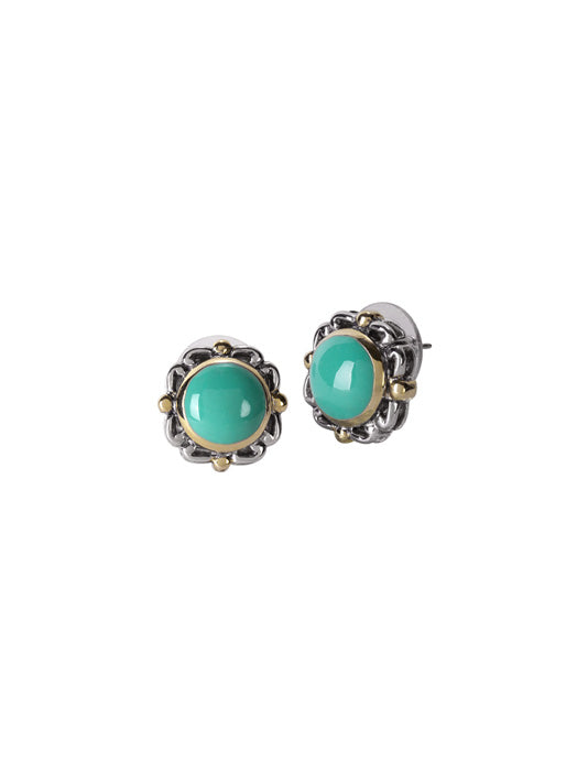 Nouveau Simplicity Turquoise Round Earrings