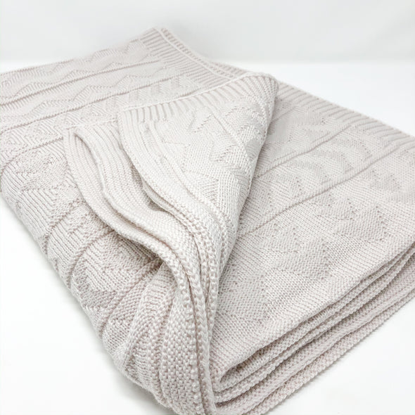 Oatmeal Knit + Purl - Throw Blanket
