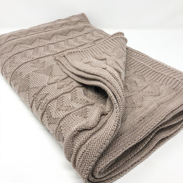 Taupe Knit + Purl - Throw Blanket