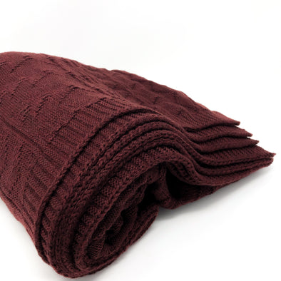 Bordeaux Knit + Purl - Throw Blanket