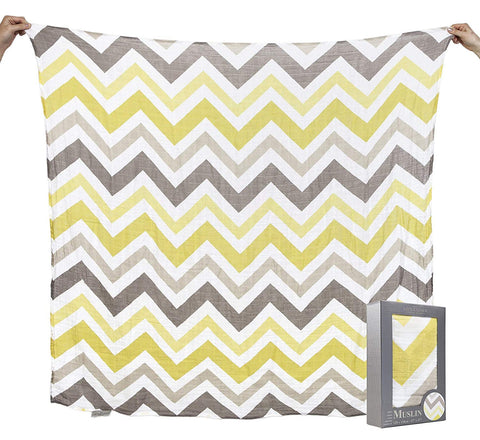 The Little Linen Company Australia - Baby Muslin Swaddle Blanket - Chevron Mustard