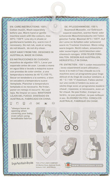 The Little Linen Company Australia - Baby Muslin Swaddle Blanket - Bicycles