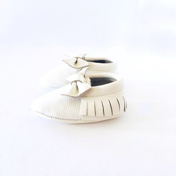 Little Leather - White Bow - Soft Soled Shoes