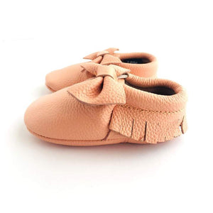Little Leather - Blush Bow - Soft Soled Shoes