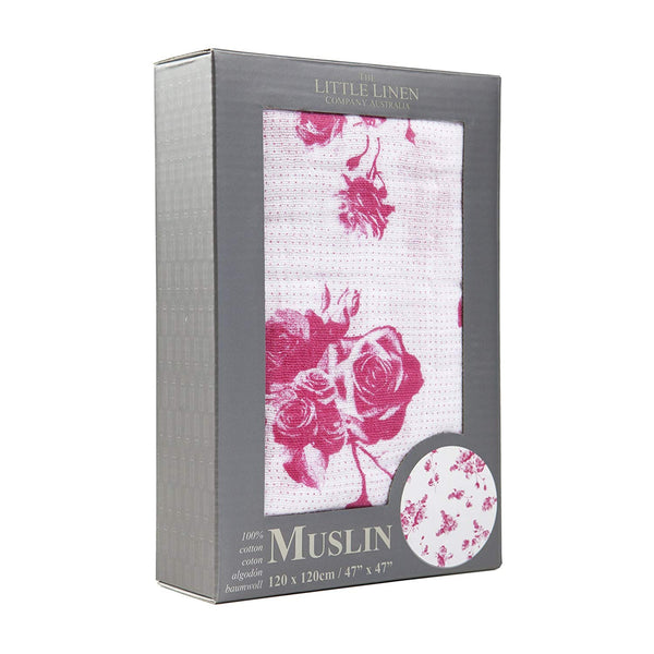 The Little Linen Company Australia - Baby Muslin Swaddle Blanket - Rose Toile