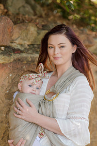 Ring Sling - Sand with Gold Rings
