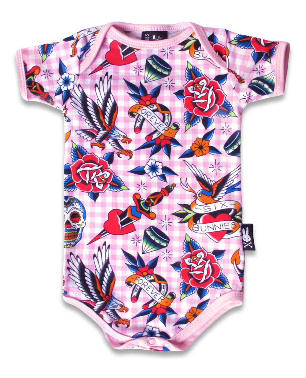 Six Bunnies - Tattoo Shoppe Romper - Pink