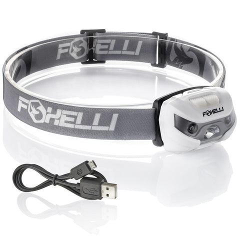 Foxelli USB Rechargeable Headlamp Flashlight MX10 - 160 Lumen, up to 30 Hours of Constant Light on a Single Charge