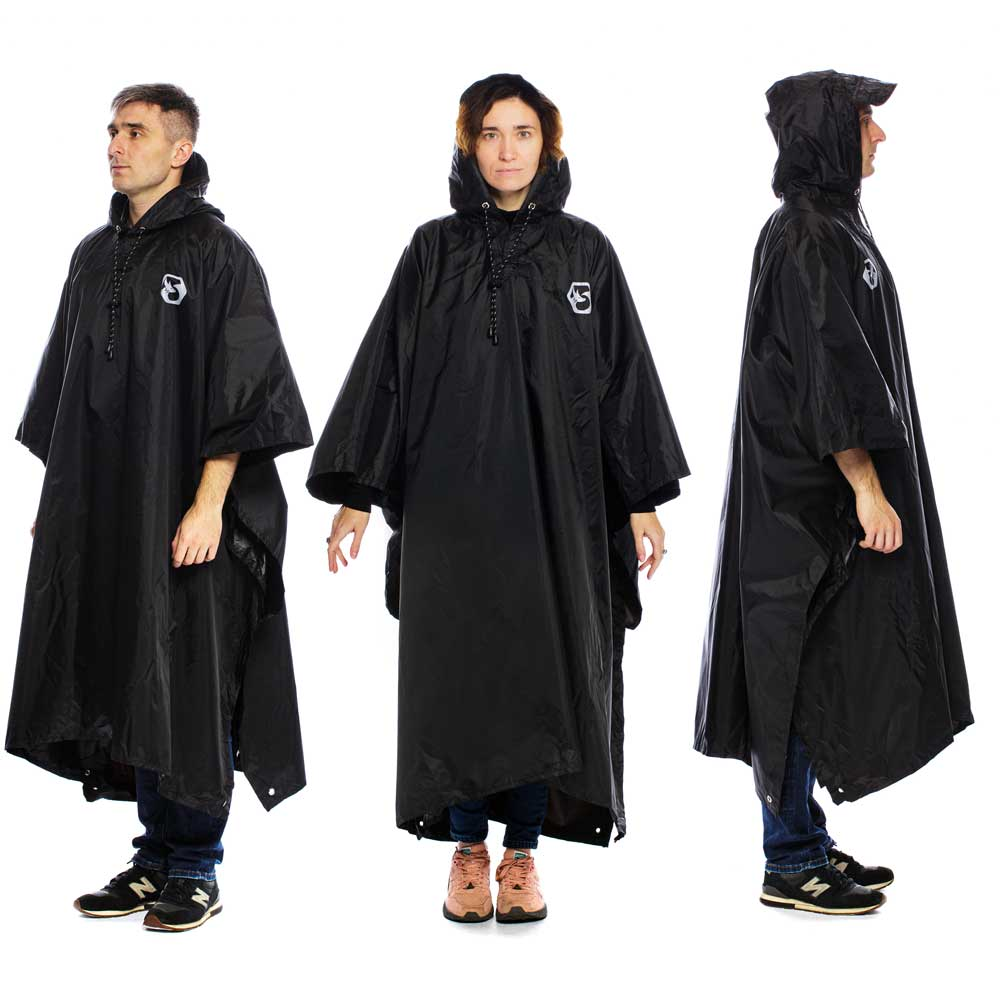 Hooded Reusable Rain Poncho - Black