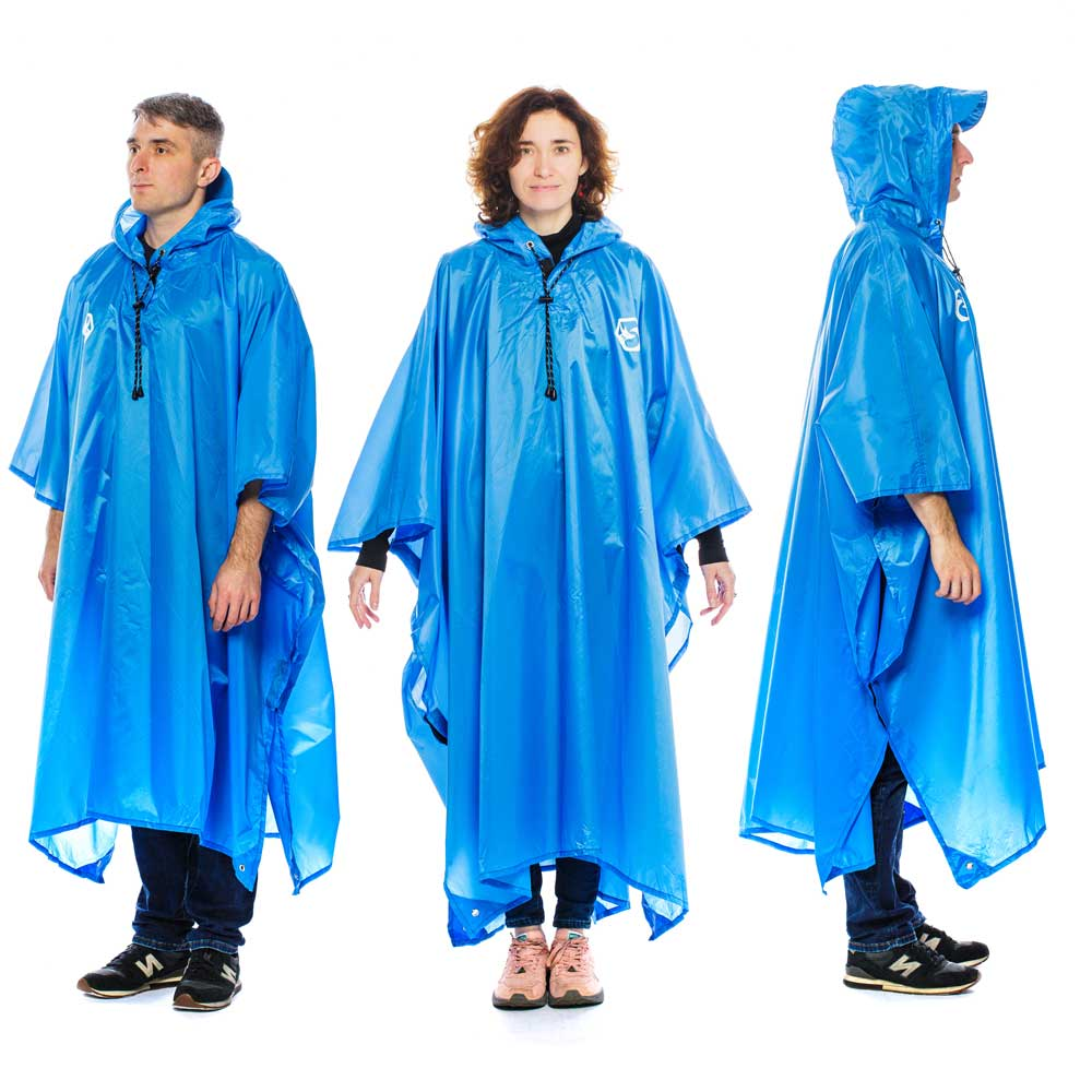 Hooded Reusable Rain Poncho - Blue