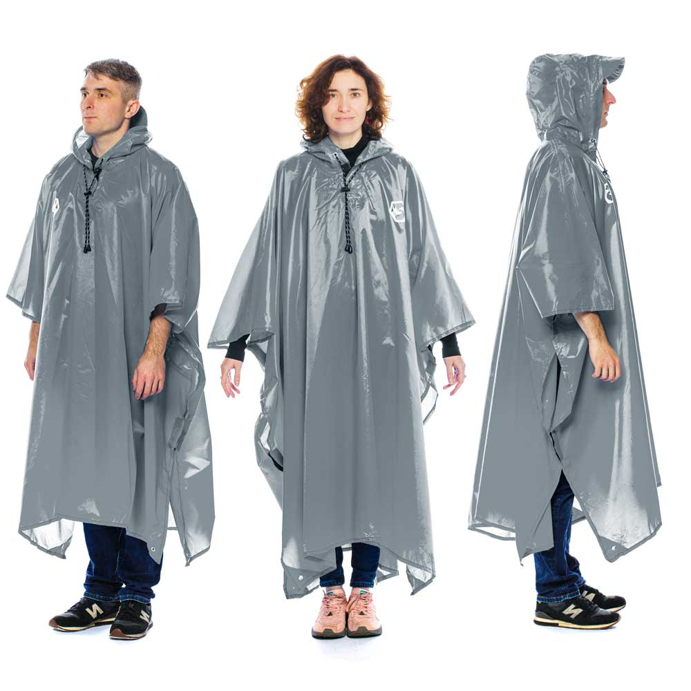 Hooded Reusable Rain Poncho - Grey
