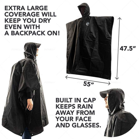 Hooded Reusable Rain Poncho - Purple Paint