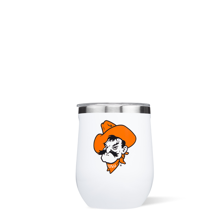 Pistol Pete Stemless Insulated 12 ounce Wine Glass